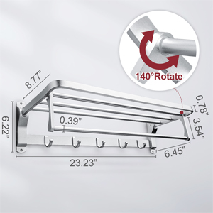 plegable aluminio Warmiehomy resistente al /óxido con 5 ganchos Toallero de pared para ba/ño