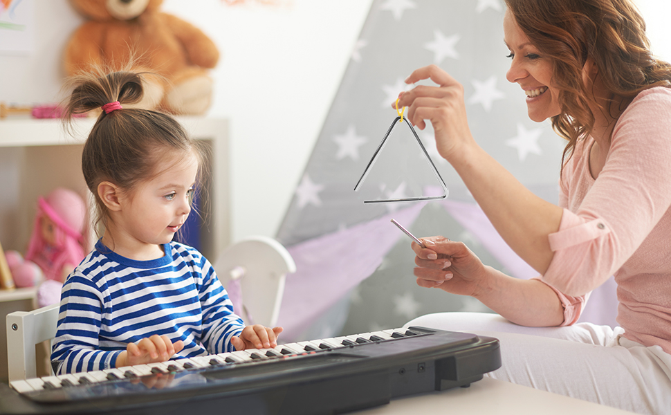 instrument kid triangle musical percussion childrem music education steel stiker toddler instruments