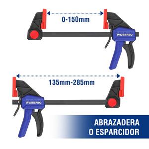 WORKPRO Sargento de Barra 2 Piezas Abrazadera de Barra Set de Sargentos para Carpinter/ía Madera 2X de 300 MM