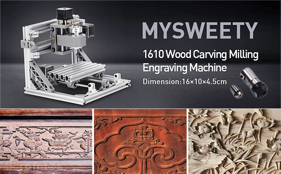 MYSWEETY DIY CNC Router Kits 1610 GRBL Control Wood Carving Milling  Engraving Machine (Working Area 16x10x4 5cm, 3 Axis, 110V-240V), with ER11  and 5mm