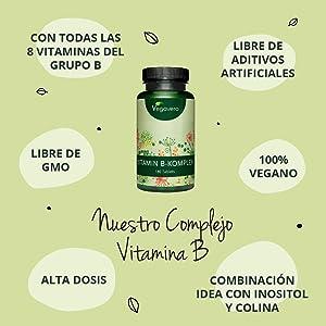 Vitamina B Complex Vegavero® | Sin Aditivos Artificiales | Con Colina e Inositol | B2 + B5 + Niacina + Piridoxina + Ácido Fólico + B12 | Vitaminas Para el Cansancio* | 180 Comprimidos: Amazon.es: Salud y cuidado personal