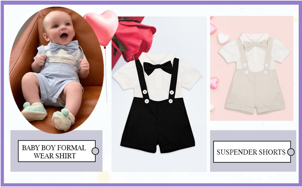 Baby Boy Smart Shirt Romper White Body-Vest Bowtie Birthday Christening Clothes