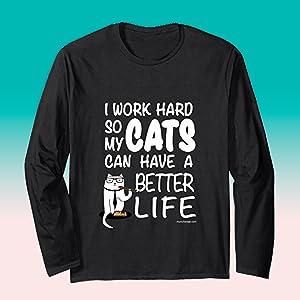 Munchiecat I Work Hard Cats T Shirt