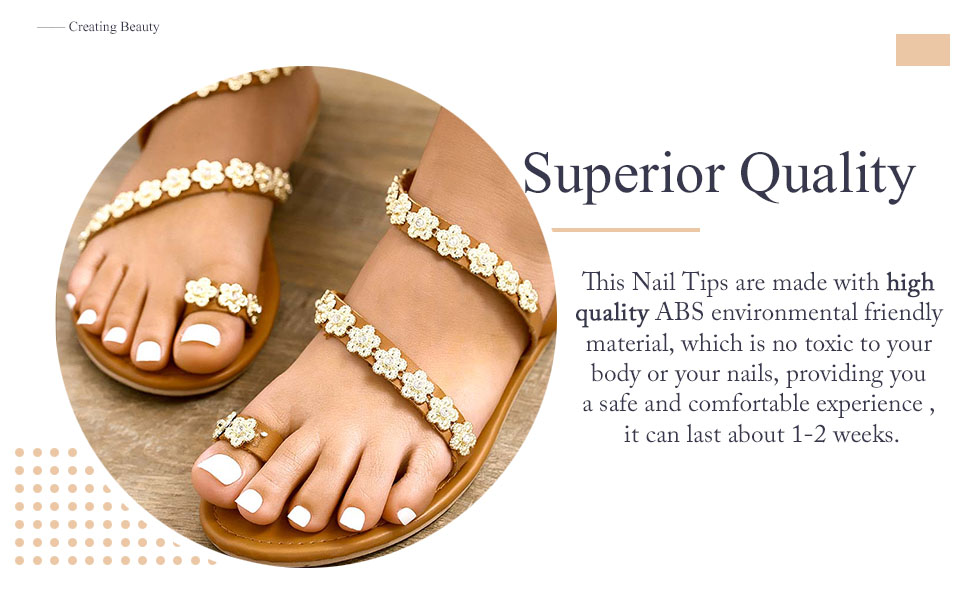 Glossy Solid Color Fake Toenails White Pure for Toes Press on Toe Art Tips for Women and Girls…