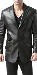 BGSD Men's Noah 2-Button Leather Blazer Lambskin Sport Coat Jacket