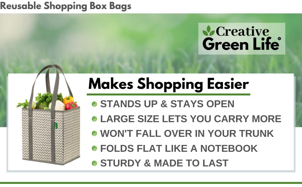 Creative Green Life Reusable Grocery shopping Box Bags makes shopping easier