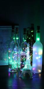 Multicolor wine bottle lights with cork 12 pack