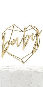 gold baby geometric heart frame cake topper