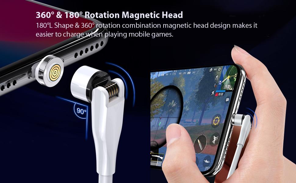 180°L Shape & 360° rotation combination magnetic head