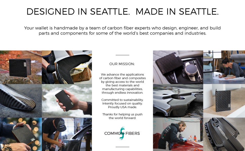 Common Fibers carbon fiber mens wallet is handmade by a team of carbon fiber experts in Seattle, USA