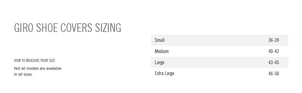 giro proof 2.0 winter shoe cover size chart