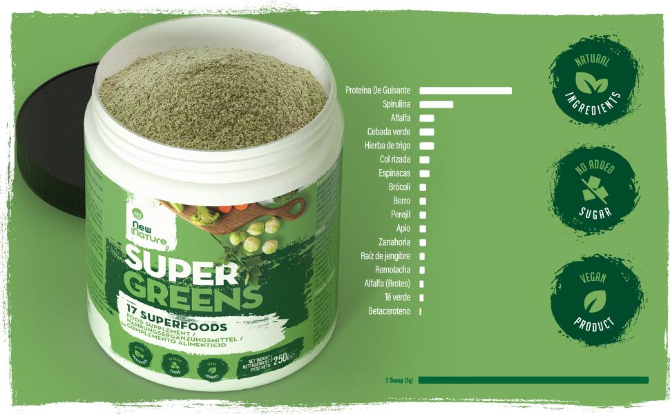 Super Greens por New Nature – 250g, 50 Raciones - Combinación de 17 Superalimentos Aptos para Vegetarianos y Veganos para su consumo diario - Cero ...
