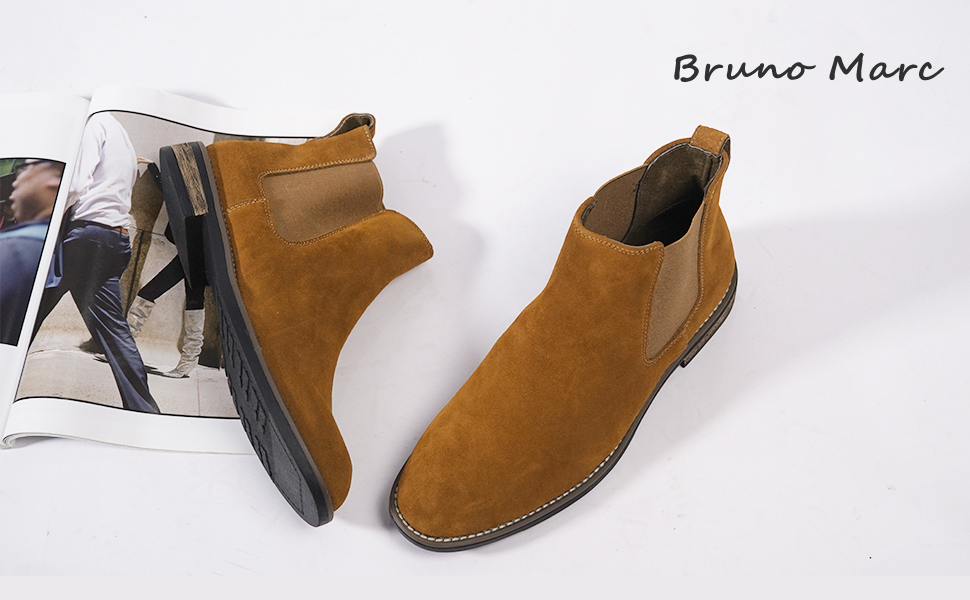 Bruno Marc Mens Urban-06 Suede Leather Chelsea Ankle Boots