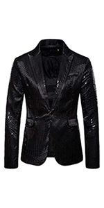 mens casual blazer shiny sequins luxury jacket sliver gold  stage performance floral printed shirt