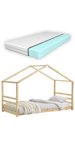 Lit cabane Vardø lit d'enfant forme maison pin 90x200cm bois naturel matelas mousse à froid