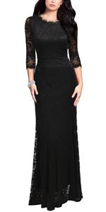 Women's Retro Lace Vintage Formal Bridesmaid Wedding Long Dress