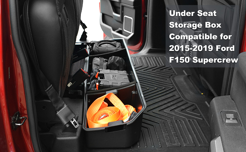 F150 Under Seat Storage >> Oedro Upgraded Under Seat Storage Box Compatible For 2015 2019 Ford F150 Supercrew Cab Crew Cab Unique Textured Black 2 In 1 Design Max Storage