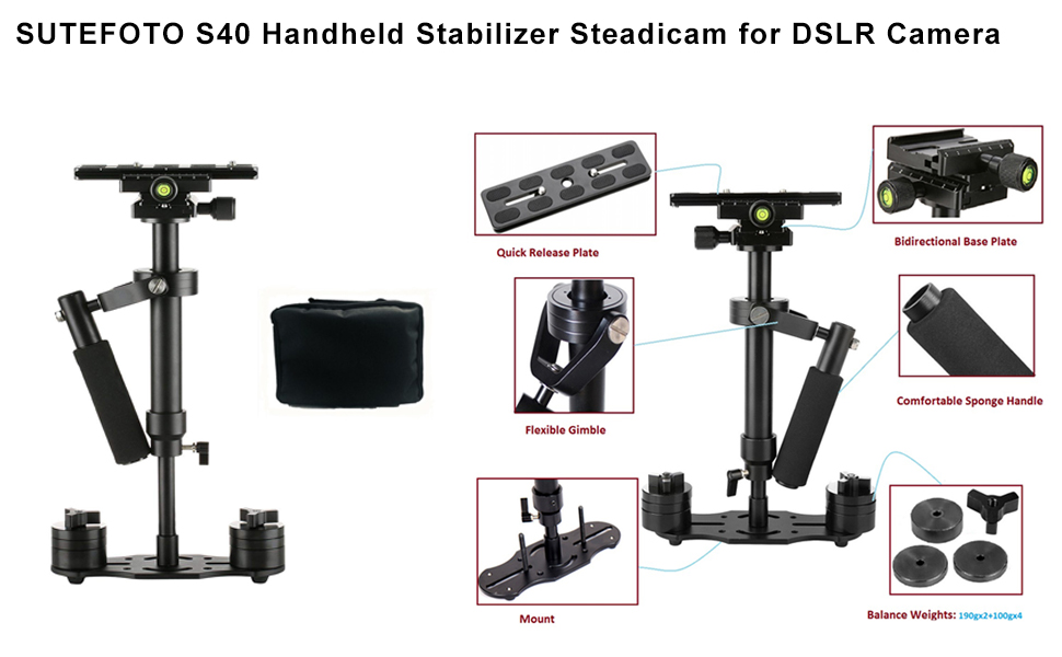 Universal Handheld Stabilizer with Quick Shoe Plate Adjustable Aluminum Alloy Gradienter Stabilizer for DV DSLR Video Mirrorless Camera Camcorder