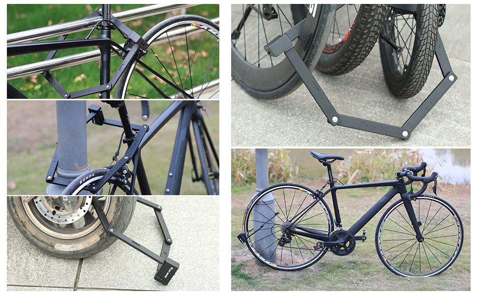 Universal Folding Bike Lock Steel Portable Chain Lock Heavy Duty 6 Joints Bicycle Lock Anti-Theft
