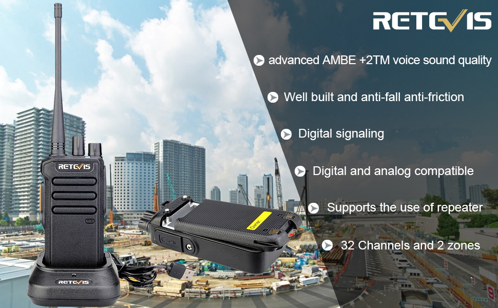 Retevis RT43 dmr radios have digital and analog signal that makes it more widely applicable