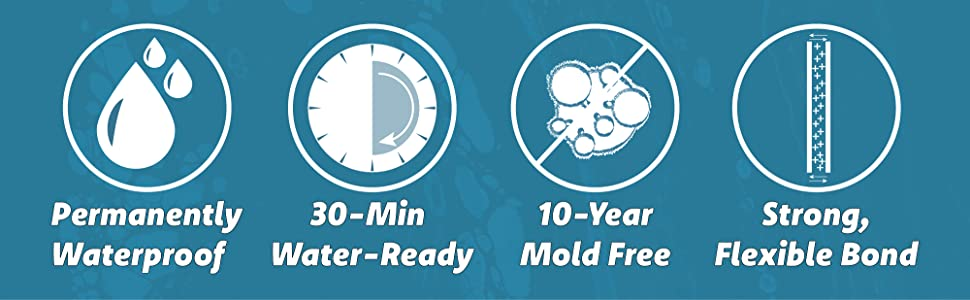 Permanently waterproof, 30min water ready, 10 year mold free, strong, flexible bond