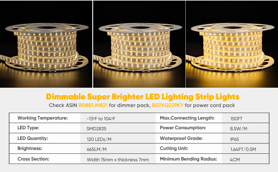 shine decor 50ft 3000k warm white led strip light
