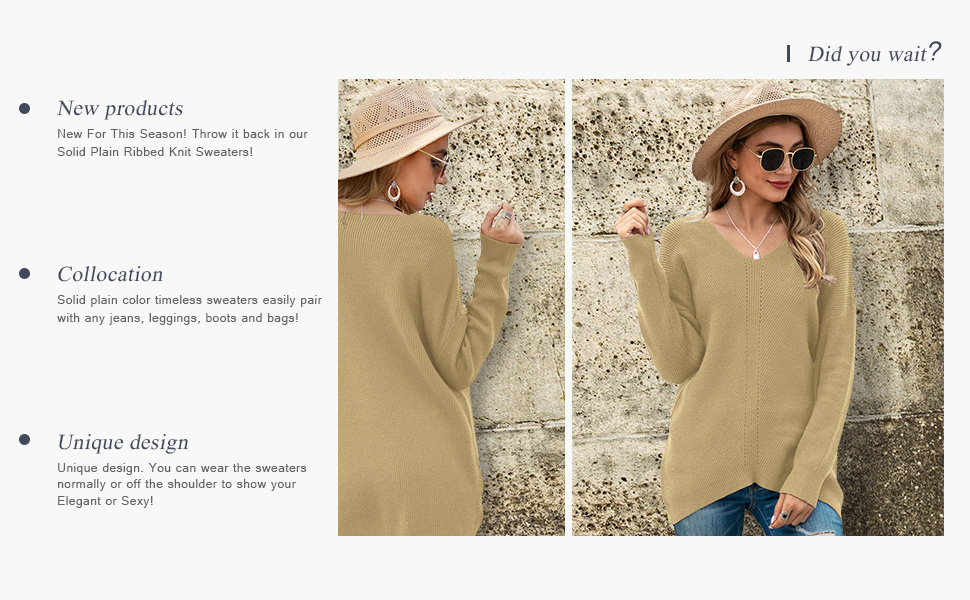 Iandroiy Women's Batwing Sleeve Dolman Ribbed Knit Jumper Oversized V-Neck Pullover Sweaters