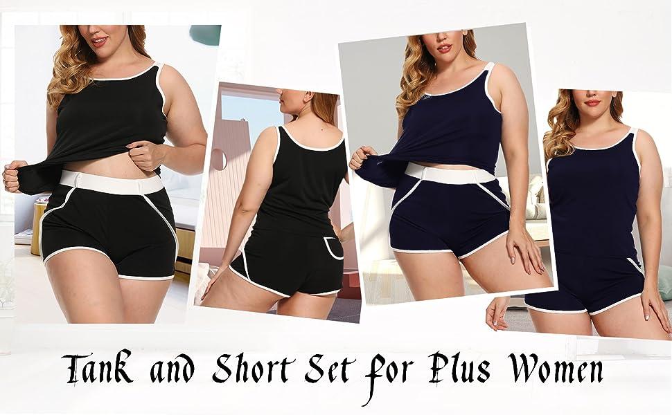 XAKALAKA Women Plus Size Pajamas Shorts Lingerie Set Tank Sleep PJ Set Nightwear