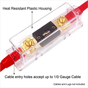 Freajoin in-Line ANL Fuse Holder 0//2//4 Gauge AWG with 250Amp ANL Fuse