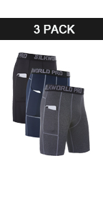 Men's Compression Shorts Pockets Workout Running Tight