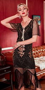 Radtengle Women's 1920s Flapper Dress Beaded Fringed Gatsby Dress with Short Sleeves