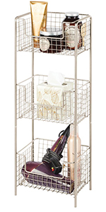 Vertical Standing Bathroom Shelving Unit Tower with 3 Baskets - Satin