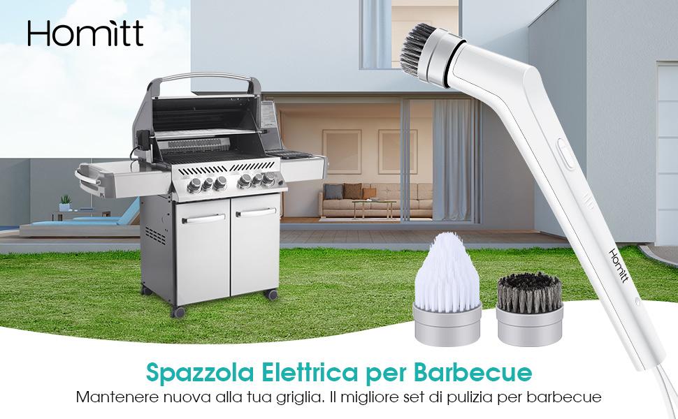 Homitt Spazzola Griglia Barbecue Spazzola Rotante elettrica per Pulizia BBQ Convenienza e Facile per Plizia Griglia
