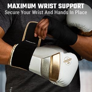 Athlete Doing up Wrist Straps White Gold T3 Training Glove