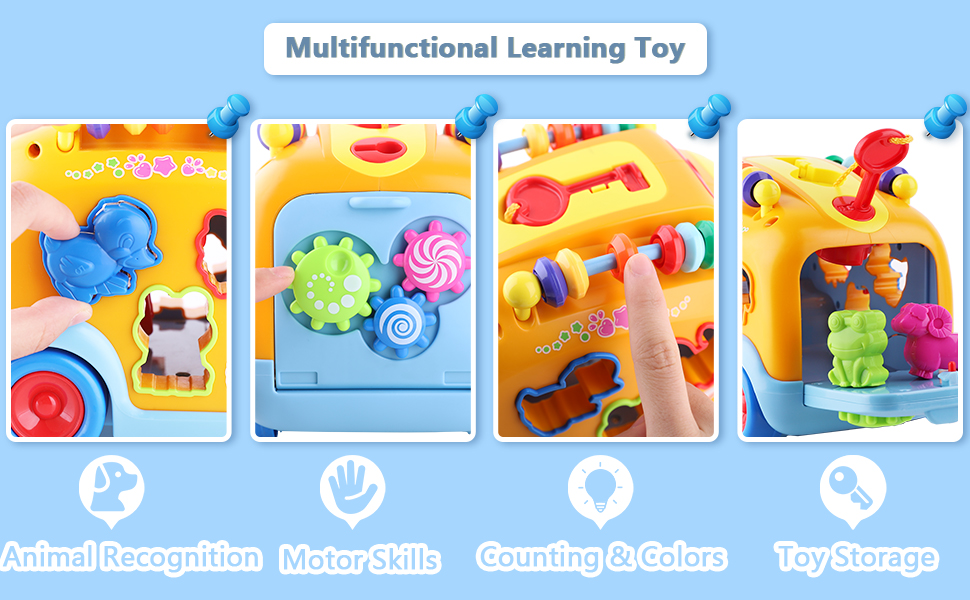 lLearn Electronic Musical Bus 3D Animal Matching Car q IPlay Baby Sensory Toy