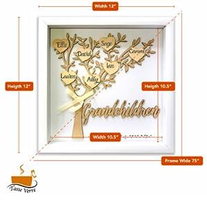 tasse verre grandchildren shadow box thoughtful gift for grandma diy white tree family kids mom dad