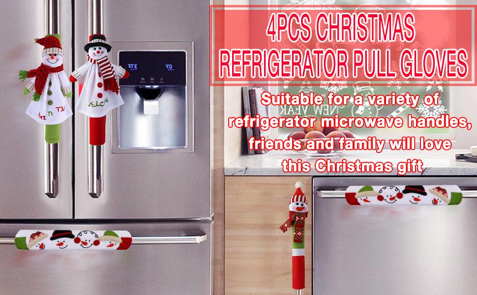 4pcs Christmas refrigerator door handle covers