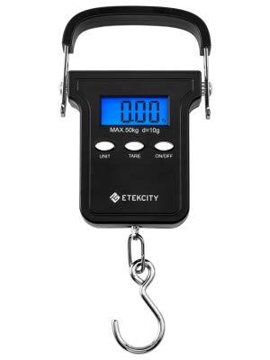 ETEKCITY EHS-18 Báscula de Equipaje Digital con Gancho, Balanza Ergonómica 50 kg / 110 lbs, Dinamómetro para Maletas, para Viajes, Cocina, Pesca y ...