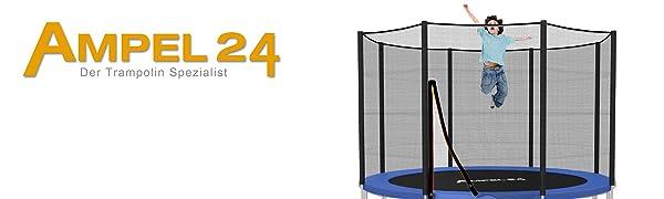 Ampel24 Klassieke tuintrampoline met blauwe randafdekking en veiligheidsnet