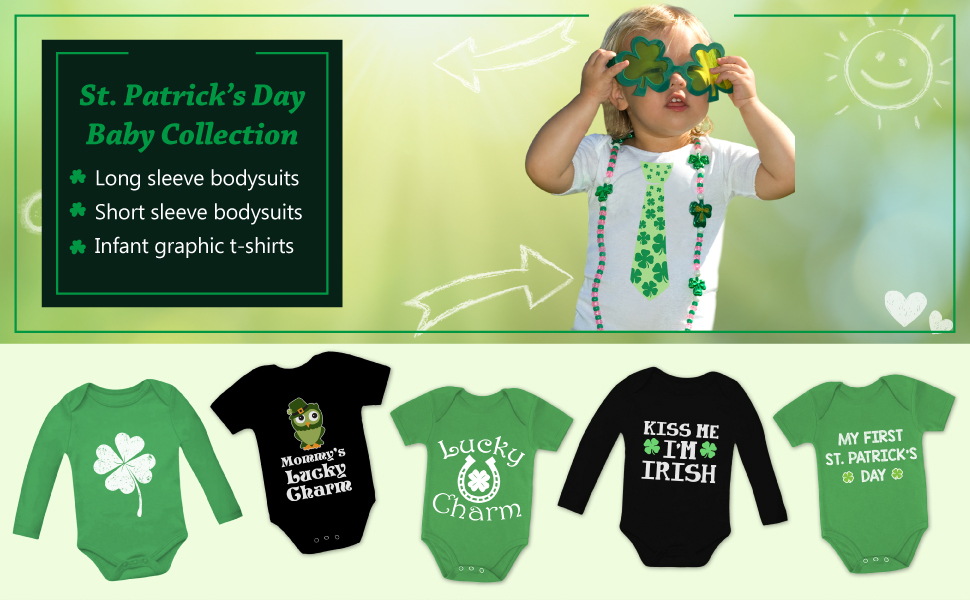 Lucky Four Leaf Clover Funny Shirt Cool St Patricks Day Patty Romper Bodysuit