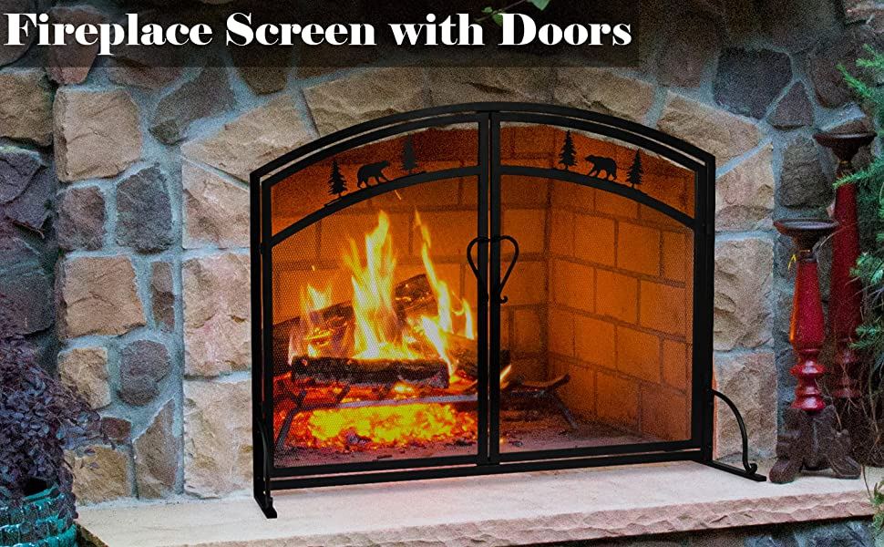 Single Panel Wrought Iron Fireplace Screen, Black Iron Mesh Fireplace Screen with Hinged Magnetic