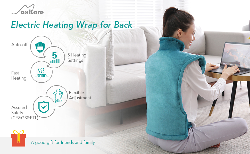 "Large Heating Pad for Back and Shoulder Pain, 24""x33"" Heat Wrap with Fast-Heating and 5 Heat Setting"