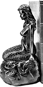 Mermaid Shaped Resin Bookends (Set of 2 Pieces): Decorative Bookends nautical sea whale Distressed