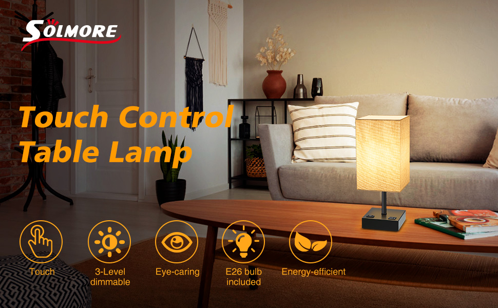 SOLMORE 3 Way Dimmable Bedside Nightstand Lamp