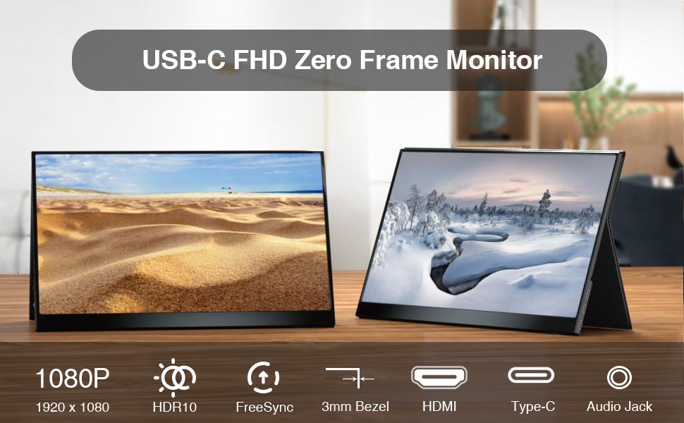 15.6 portable monitor usb c monitor usb type c portable monitor gaming monitor HDMI FULL HD 1080P
