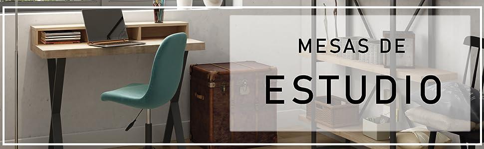 Adec - Natural, Mesa con Estanteria, Mesa Despacho, Mesa de ...