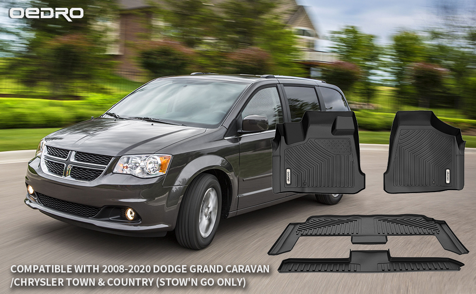 oEdRo Floor Mats for 2008-2020 Dodge Grand Caravan/Chrysler Town & Country (Stow'n Go Only)