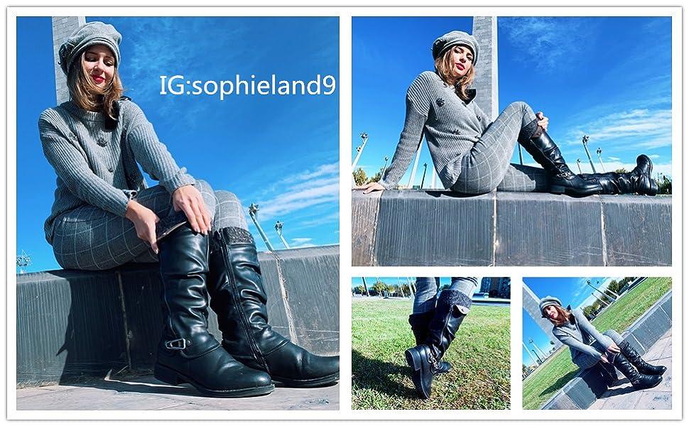 Comfortable Footwear with Zip Buckle Shoe Size Black GreyOutdoor Walking Shoes Ladies Long Boots