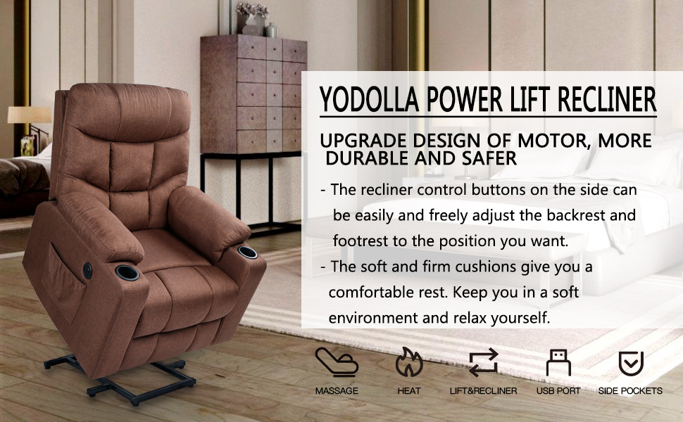 YODOLLA Electric Power Recliner Chair, Power Lift Recliner Sofa with Vibration Massage & Heat Function, Lazy Boy Recliner Chair with Side Pockets and