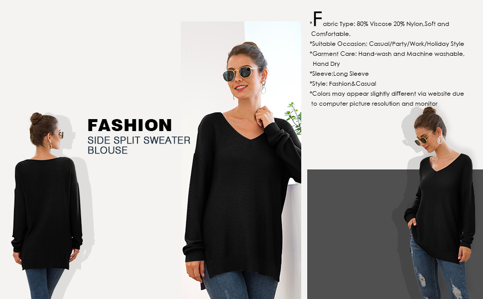 GRECERELLE Women's V-Neck Long Sleeve Side Split Loose Casual Knit Pullover Sweater Blouse